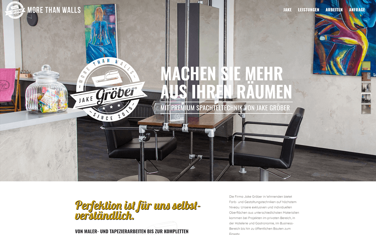 Projekt Website More Than Walls Websiteansicht Desktop